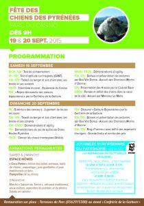 Programme de la Fête des Chiens des Pyrénées.